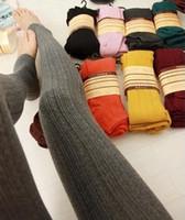 Wholesale Thick Cotton Tights Girls - Fashion women leggings autumn casual leggings warm winter stripe women knitted thick legging silm super elastic free shipping
