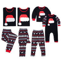 Wholesale family christmas pajamas for sale - Family Christmas Pajamas  Pyjamas set Christmas hat Snows Sleepwear 2823a652e