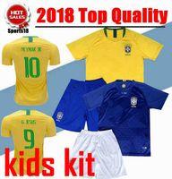 Wholesale Footballs Leopard - 2018 Kids Brazil soccer jersey NEYMAR JR home away World Cup DAVID LUIZ COSTA COUTINHO 2019 youth boy kit Brazil football soccer shirt