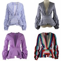 d4f2b04e4bf New Rainbow Stripe Peplum Tops pour les femmes à manches longues Puff Deep  V Neck Fashion Office Dames Blouse Shirts Plus Size 5XL 4XL 3XL
