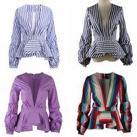 Wholesale white ruffled blouses for women - New Rainbow Stripe Peplum Tops for Women Long Puff Sleeve Deep V Neck Fashion Office Ladies Blouse Shirts Plus Size 5XL 4XL 3XL