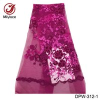 Wholesale wine colored lace fabric - Wine hot selling african tulle lace fabric best quality african lace fabric deep purple embroidery french lace African DPW-312