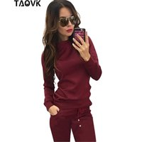 Wholesale new style women s tracksuit - TAOVK New Russia Style Women Track Suit Wine Red & Apricot-colored , 2-piece Sweatshirt+Long Pant Leisure Tracksuits