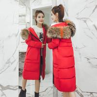 puff abrigo de piel al por mayor-Moda Puffer Abrigo 1990s Con capucha Parka Rojo Negro Ejército verde Puff Jacket w / Faux Fur Abrigo de invierno de las mujeres con capucha