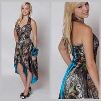 синие свадебные платья камуфляж оптовых-Синий камуфляж платья невесты Привет низкий свадебное платье короткие передние длинные назад камуфляж фрейлина платье Холтер страна свадебные платья