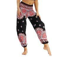pantalones de spandex caliente más tamaño al por mayor-Venta caliente del otoño de las mujeres atractivas de cintura alta estilo bohemia estiramiento cintura pantalones de yoga pantalones de pierna ancha más el tamaño 2018 más nuevo