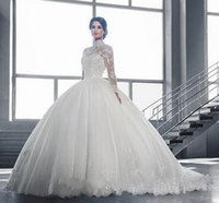 Wholesale Wedding Dresses Large Trains - Mid Long Sleeve Lace Wedding Dresses Large Size Back Floor-length Button Bride Balll Gowns Chapel Train Vestido De Noiva 2018