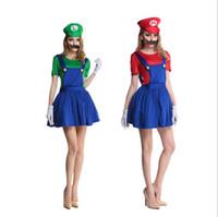 Wholesale sexy super women costume online - adult women super Mario costume sexy Mario Luigi Skirt plumber mario bros Fancy Dress Up Party Costume SET dress hat beard KKA5690