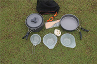 Wholesale nylon cooking - Portable Camping Cookware Cookset For Hiking Backpacking Lightweigh Durable Pot Pan Bowls Spork With Nylon Bag Outdoor Cook Equipment H226Q