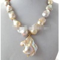 conjunto de joyas negro grueso al por mayor-Envío gratisJewelr 003028 Natural Light Pink Lavender Keshi Keishi Baroque Pearl NecklacePendant