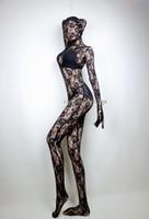 traje de traje completo negro al por mayor-Tamaño adulto Unisex Sexy Lace negro Body completo Zentai Catsuit Costume Unitard leotardo Bodysuit
