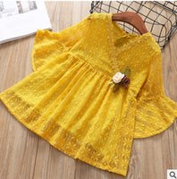 Wholesale Girls Lace Dress Brooch - Spring girls lace embroidered dress 2018 new children flowers brooch lace hollow princess dress kids lace V-neck flare sleeve dress R2469