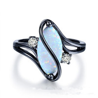 kadın için opal taş halkalar toptan satış-Oval Opal Taş Siyah Altın Renk Yüzükler Moda Takı Kadınlar ve Adam Parti Hediye Toptan Için
