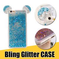 Wholesale ear phone diamond for sale – best Transparent TPU Phone Cases Diamond Rhinestone Glitter Quicksand Liquid Back Cover with Fun Ear Design for iPhone XS X s Plus