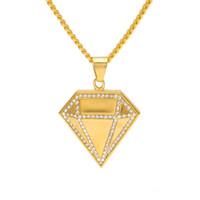 ingrosso collana di pendente del diamante giallo-Hotsale Uomo Collana Hip Hop in acciaio inossidabile Oro giallo con motivo AAA CZ Collana con ciondolo a forma di grande diamante per uomo donna NL-682
