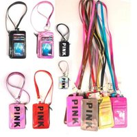 Wholesale wholesale fashion square for sale - Pink Letter Card Holder With Lanyard Colors Phone Strap Neck String ID Card Neck Bags Kids Coin Purse OOA5461
