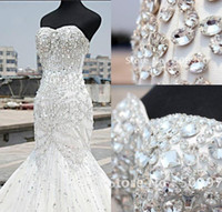 Wholesale 2019 Cheap Mermaid Tulle Beaded Sexy Wedding Dresses Bride Gowns Party Wedding Gowns