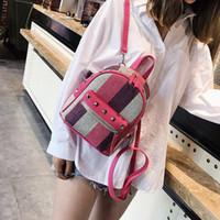 Wholesale korean small backpack online - 2018 new Girls Diamond Rivet Stripe Canvas Backpack Mini Travel Leisure Small Backpacks Women Fashion Shoulder Bags Korean Style