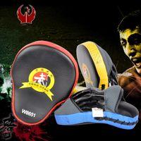 ingrosso muay thai hand pad-Muay Thai Hand Pads Target MMA Focus Punch Pad Guantoni da boxe da allenamento Mitts Karate Muay Thai Kick Fighting W8651 Blu Rosso Giallo