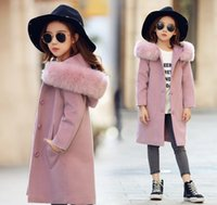 Wholesale Girl Princess Coat - Big girls woolen trench coat winter children faux fur hooded thicken warmer overcoat kids double pocket pink princess outwear R1708