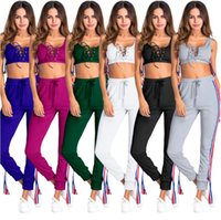 Wholesale black yoga pants online - Tied vest Pants cloth set women bohemian beach summer holiday seaside bandage pants with Cross tied vest yoga tracksuit LJJG632 sets