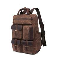 Wholesale hunting oil for sale - Group buy Man Vintage Genuine Leather Canvas Backpack Luxury Oil Waxed Outdoor Waterproof Travel Luggage Bag Rucksack Business School Bag