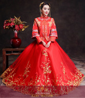 Wholesale wedding dress dragon embroidery for sale - Group buy Spring Traditional Show bride dress Suzhou embroidery long sleeve chinese style Wedding cheongsam evening dress red vintage dragon Rose gown