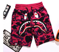 camuflagem shorts quentes venda por atacado-2018 new hot sale tubarão macaco cabeça calça verão moda calções de praia camuflagem impresso calções calças dos homens