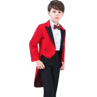 Wholesale wedding dresses 5pcs online - Kids Formal Party Dress Tuxedo Piano Performance Costume Flower Boys Birthday Wedding Suits Blazer Shirt Pant Tie