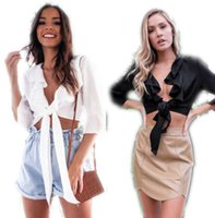 оборка оптовых-2018 Fashion Women Ruffle Blouses Satin Multi Tie Wrap Long Sleeve Button Cuff Bow Blouse Shirt Party Crop Top Sexy