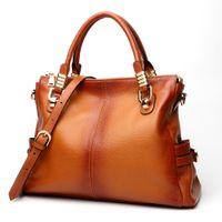 damen echtes lackleder handtaschen großhandel-Frauen Handtasche echtes Leder Taschen weibliche Schultertasche mit großen Tasche Damen Abend Kupplung Patent Frau Handtaschen C411