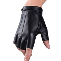 Wholesale Punk Gloves Men - Mens Punk Cool PU Leather Fingerless Gloves Fashion Classic Male Short Half Finger Gloves Motorcycle Cycling Outdoor Driving
