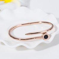 ingrosso braccialetti di chiodo placcati oro-bracciale chiodo in acciaio inossidabile placcato oro rosa numeri romani polsino bracciale in titanio di alta qualità per donna