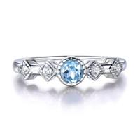 natürliche edelsteine klingelt großhandel-Natürliche Sky Blue Topas Ringe für Frauen Solide 925 Sterling Silber Ring Vintage Aquamarin Birthstone Edelstein edlen Schmuck