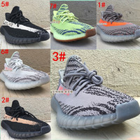 Wholesale Open Toe Lace Up Shoes - 2018 SPLY Boost 350 V2 Running Shoes AH2203 CP9654 SemiFrozen Yellow Blue Tint Zebra Cream White Bred Kanye West Casual Shoes