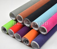 Wholesale Roll Black Velvet - Black Velvet suede Vinyl Wrap Decal Sticker Film For car interior exterior roof covering stickers With Air Bubble Free Size:1.35x15m roll