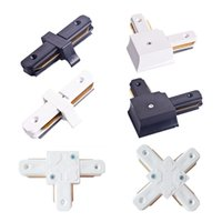 Wholesale t type connector - Connectors for Led Track rails lights 2 wire tracks I T L and Cross 4 kind of types White and Black color