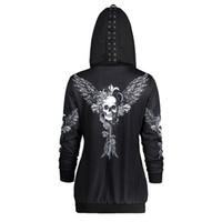kanatlar rahat hoodie toptan satış-Hoodies Kazak Kadınlar Lace Up Şapka Kafatası Wings Baskı Zip Up Hoodie Punk Stil Femme Rahat Kapüşonlu Kazak Kadın Üst