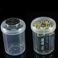 ingrosso una custodia per batterie-Portabatterie Portabatterie AA / AAA Scatola di immagazzinaggio rotonda Mini Portapillole portatile Trasparente in plastica