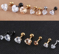 Wholesale cartilage barbells for sale - Group buy Stainless Steel Jewelry L Heart Zircon Tragus Earring Helix Barbell Ear Piercing Cartilage Ring Jewelry Women women luxury earring