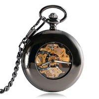 lüks kendinden sargı saatler toptan satış-Klasik Siyah Pürüzsüz Mekanik Otomatik Self-rüzgar Cebi İskelet Lüks Fob Saatler Erkekler Kadınlar Hediye Relogio De Bolso