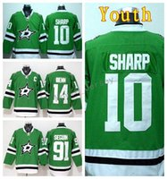 patrick sharp jerseys verdes al por mayor-Juventud Jamie Benn Jersey 14 Hockey sobre hielo 10 Patrick Sharp 91 Tyler Seguin Niños Hockey sobre hielo Jerseys Kid Team Color Green Embroider Logos