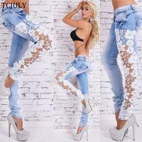 ingrosso jeans scavavano il merletto nero-TCJULY Drop Shipping Moda scava fuori i jeans di pizzo per le signore Bianco nero Jeans donna più mamma fidanzato per le donne