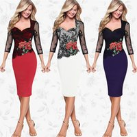 Wholesale Lace Flower Pencil Dress - 2018 Women's Dress Lace short sleeve Lace Patchwork Hollow out styles Flower Embroidery pencil Dress for lady