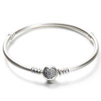 Wholesale pandora bead gift box - 925 Sterling Silver Bracelet with Original box Fit Pandora Charms Beads Pave CZ Heart Bracelets Fashion Real silver Jewlery For Women