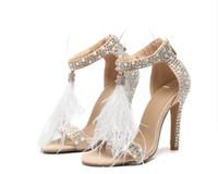 tacones de plumas al por mayor-2019 Sexy Plus Size Summer Woman sandalias de tacón alto Rhinestone de cuero borlas de plumas delgadas mujeres de tacón alto zapatos de boda Stilettos