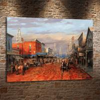 pintura a óleo velha da casa venda por atacado-Old West Town, Pintura em tela Sala de estar Decoração de Casa Modern Mural Art Oil Painting