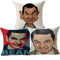 almohadas de frijoles al por mayor-3 estilos lindo divertido Mr. Bean caricatura fundas de cojines Rowan Atkinson retrato pintura funda de cojín sofá decorativo funda de almohada de lino