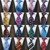 listras do ouro das gravatas venda por atacado-2019 Novo 8 cm Moda Laços Gravata De Seda Dos Homens Gravatas Gravatas Artesanais Gravata de Paisley Do Partido Do Partido Do Casamento Do Estilo Britânico Negócio Gravatas Listras