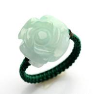 anel de jade vermelho natural venda por atacado-Natural de uma carga de anéis de rosas de jade myanmar diy anel de jade para as mulheres tecer rosas vermelhas anel de corda de jade